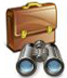 suitcase and binoculars